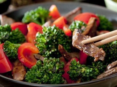 Stoffwechselkur Rezepte Wokgemüse mit Rindfleisch, Brokkoli und Paprika